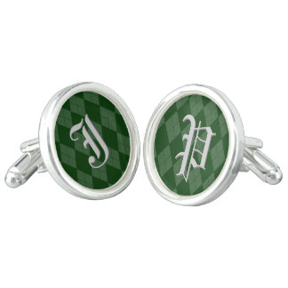 Green Argyle Monogram Inital Personalized Letter Cuff Links
