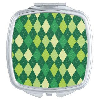Green argyle pattern compact mirror