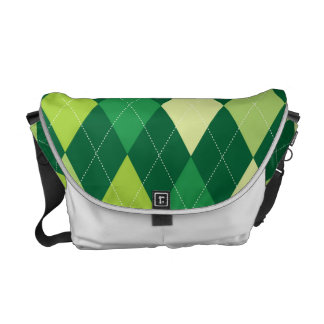Green argyle pattern courier bags