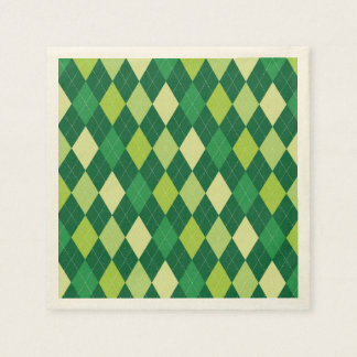 Green argyle pattern disposable napkins