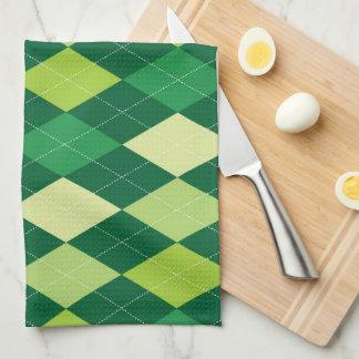 Green argyle pattern kitchen towels