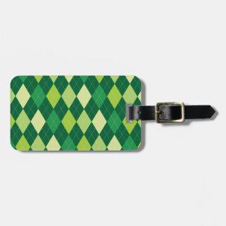 Green argyle pattern luggage tag