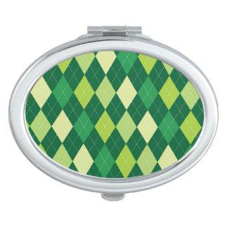 Green argyle pattern makeup mirrors