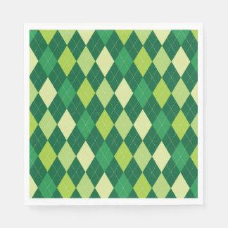 Green argyle pattern paper napkins