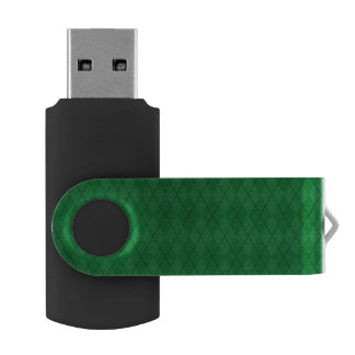 Green argyle pattern swivel USB 2.0 flash drive