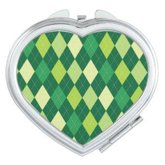 Green argyle pattern travel mirrors