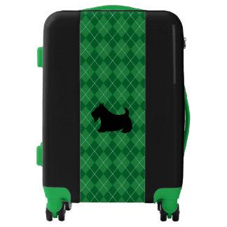 Green Argyle Scottish Terrier Luggage