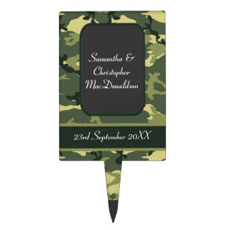Green army camo wedding cake toppers
