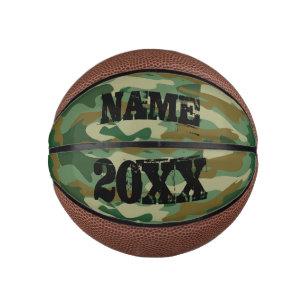 Green army camouflage custom name mini basketball