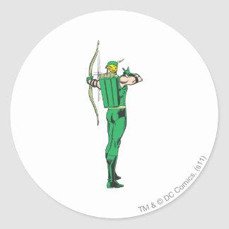 Green Arrow Back View Round Sticker
