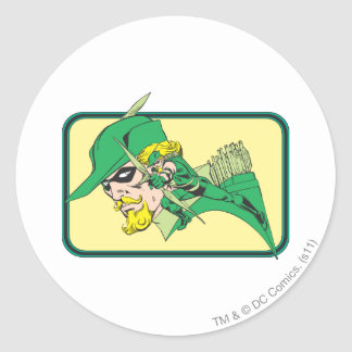 Green Arrow Head Shot Round Sticker