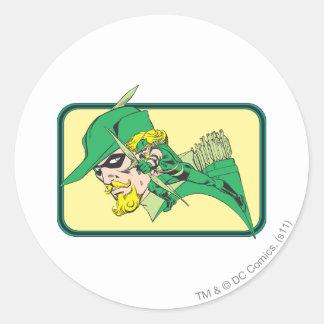 Green Arrow Head Shot Round Sticker