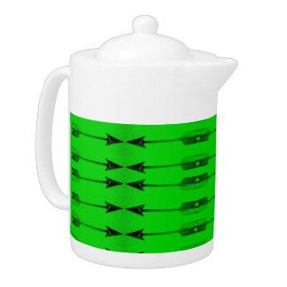 Green Arrow Print Tea pot