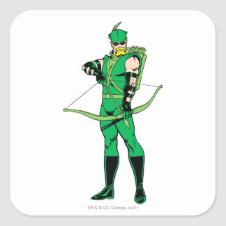 Green Arrow Standing with Bow Square Sticker