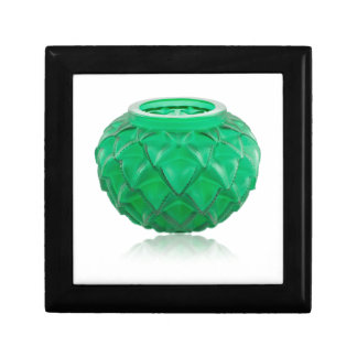 Green Art Deco carved glass vase. Gift Box
