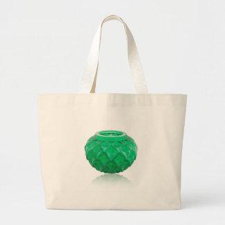 Green Art Deco carved glass vase. Large Tote Bag