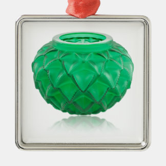 Green Art Deco carved glass vase. Metal Ornament