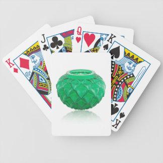 Green Art Deco carved glass vase. Poker Deck