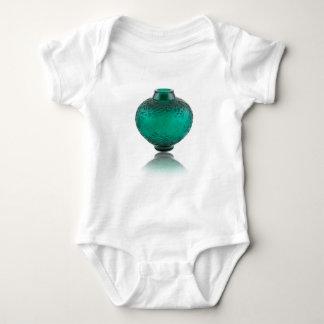 Green Art Deco glass vase depicting leaves. Baby Bodysuit
