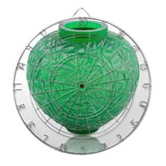 Green Art Deco glass vase depicting leaves. Dartboard
