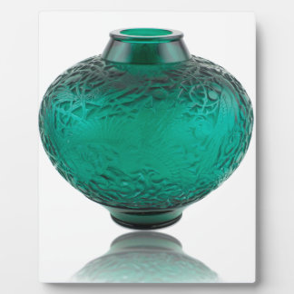 Green Art Deco glass vase depicting leaves. Plaque