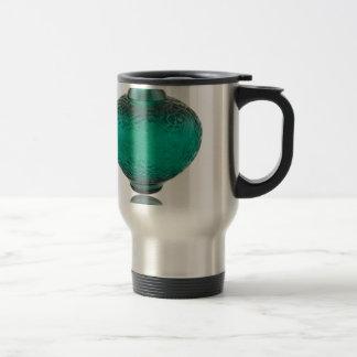 Green Art Deco glass vase depicting leaves. Travel Mug