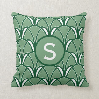 Green Art Deco Monogram Cushion