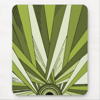 Green Art Deco Sunrise Design Mouse Pad