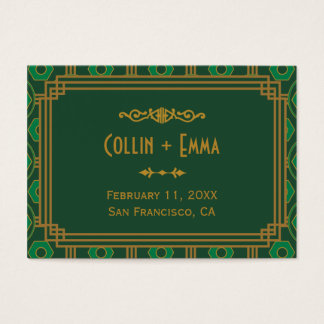 Green Art Deco Wedding Place Cards