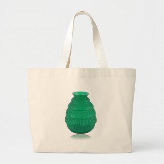 Green Art Glass Vase Large Tote Bag