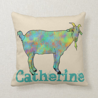 Green Art Goat on Things Design with your Name Cushion