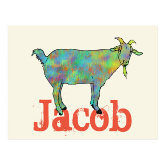 Green Art Goat on Things Design with your Name Postcard