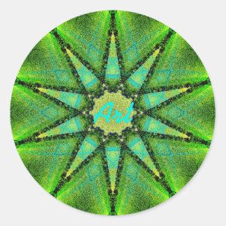 Green Art Star Classic Round Sticker