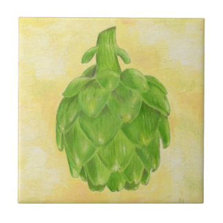 Green Artichoke Square Tile