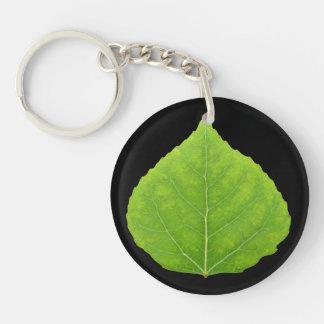 Green Aspen Leaf #11 Double-Sided Round Acrylic Key Ring