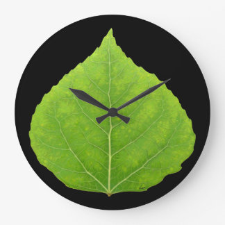Green Aspen Leaf #11 Large Clock