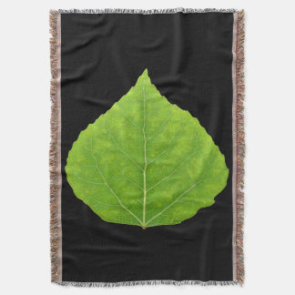 Green Aspen Leaf #11 Throw Blanket