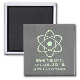 Green Atomic Chalkboard Save the Date Magnet
