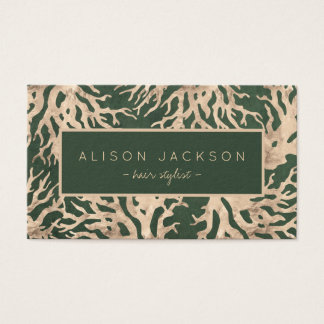 Green avocado gold corals pattern hair stylist business card
