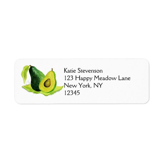 Green Avocado Still Life Fruit in Watercolors Return Address Label