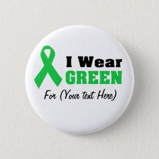 Green Awareness Ribbon 6 Cm Round Badge