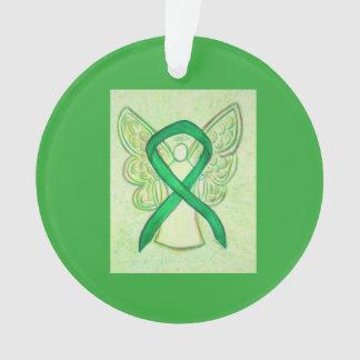 Green Awareness Ribbon Angel Customised Ornaments