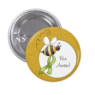 Green Awareness Ribbon Bee 3 Cm Round Badge