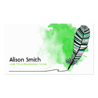 Green Aztec Feather Business Card Template