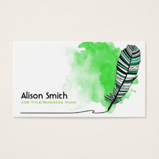 Green Aztec Feather Business Card