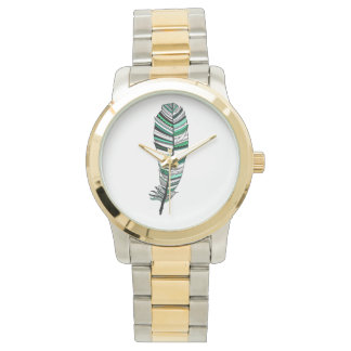 Green Aztec Feather Watch