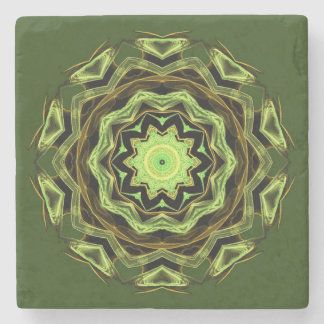 Green Aztec Patterned Stone Coaster