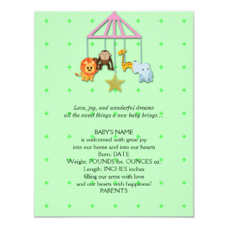 Green Baby Animal Mobile Baby Announcement