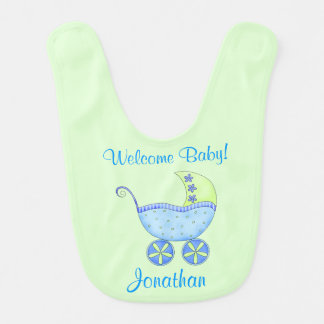 Green Baby Buggy Welcome Baby Name Personalized Bib
