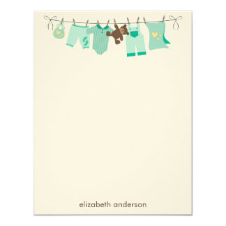 Green Baby ClotheslineThank You Notes 11 Cm X 14 Cm Invitation Card